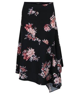 Čierna kvetovaná asymetrická sukňa Dorothy Perkins