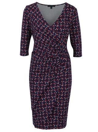 Tmavomodré puzdrové vzorované šaty s prekladaným výstrihom Fever London Lennox
