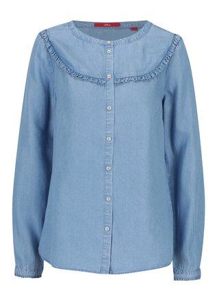 Světle modrá dámská džínová košile s volány s.Oliver