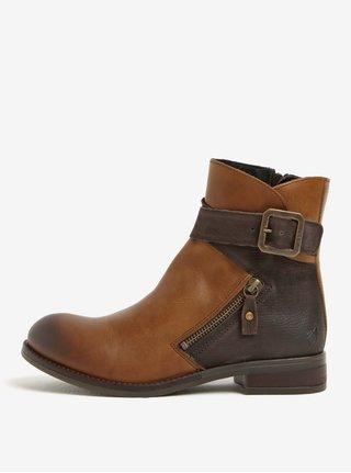 b7281e983e5 Hnědé dámské kožené kotníkové boty s přezkou Fly London