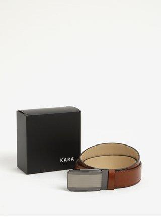 Hnědý pánský kožený pásek KARA