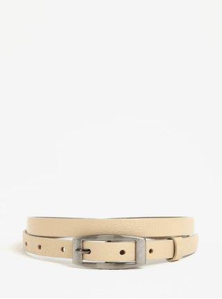 Béžový dámský úzký kožený pásek KARA