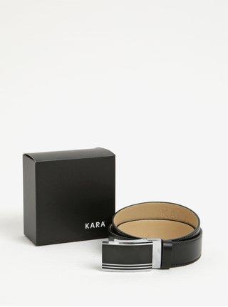 c2142c9ebfb Černý pánský kožený pásek s černou přezkou KARA