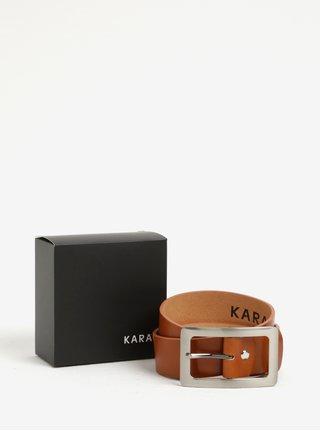 Hnedý dámsky kožený opasok s prackou v striebornej farbe KARA