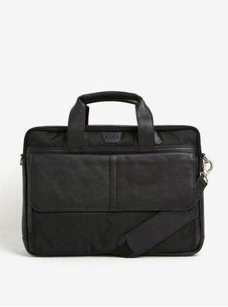 Čierna pánska taška na notebook s koženými detailmi KARA