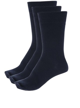 Sada tří párů ponožek v tmavě modré barvě Selected Homme Cotton