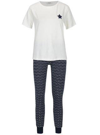 Krémovo-modré pyžamo se vzorom Pieces Cailin