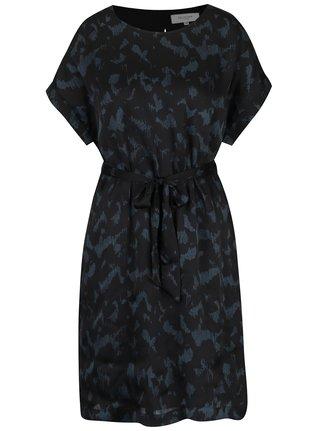 Černé vzorované volné šaty s průstřihem na zádech Selected Femme Zenia