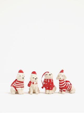 Sada čtyř béžovo-červených keramických ozdob ve tvaru psů Kaemingk