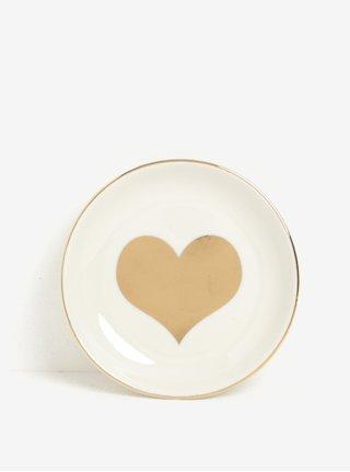Talířek na šperky ve zlaté a krémové barvě Sass & Belle Gold Heart