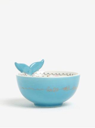 Bol din ceramica crem&albastru cu print balena - Disaster Over The Moon Bear