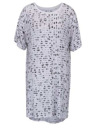 Camasa de noapte alba cu print si maneci scurte - DKNY
