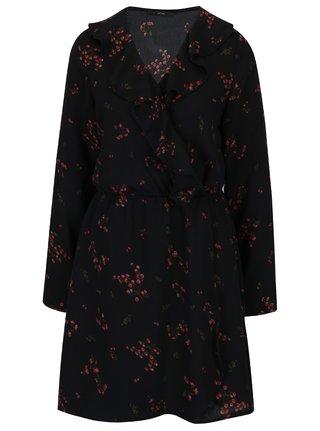 Čierne kvetované šaty s volánom VERO MODA Parisan