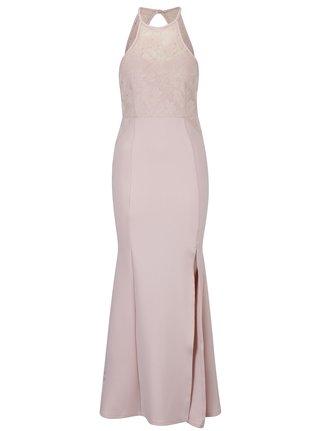 Rochie maxi roz pal din dantela cu model floral AX Paris