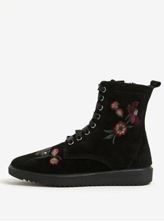 Černé semišové kotníkové boty s výšivkou OJJU