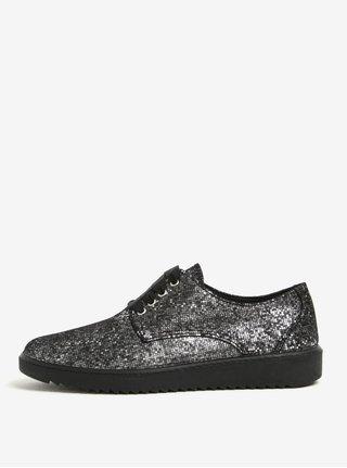 Pantofi gri metalic cu model geometric din piele OJJU