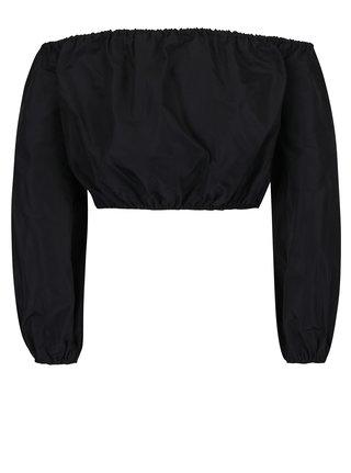 Bluza crop top neagra cu decolteu pe umeri si maneci lungi - Miss Selfridge