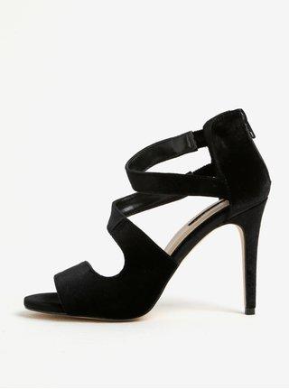 Černé sametové sandálky na jehlovém podpatku Miss Selfridge Clara