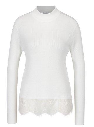 Krémový tenký sveter s čipkovým spodným lemom Jacqueline de Yong Victory
