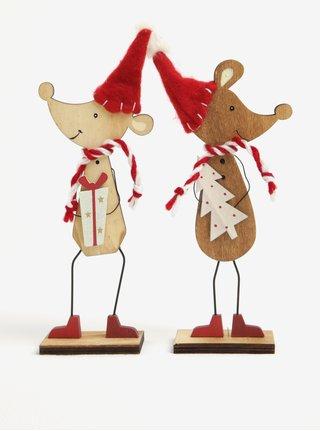 Súprava drevených dekorácií v tvare myší Sass & Belle