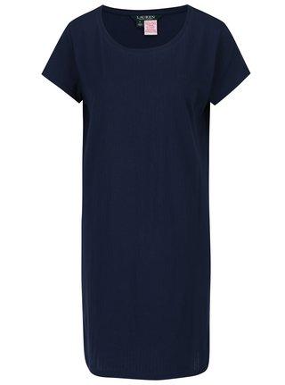 Tmavomodrá nočná košeľa Lauren Ralph Lauren Jacquard