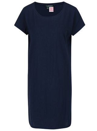 Camasa de noapte bleumarin cu dungi fine in relief - Lauren Ralph Lauren Jacquard