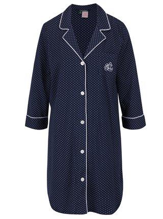 Camasa de noapte bleumarin cu revere, logo brodat si buline albe - Lauren Ralph Lauren Heritage