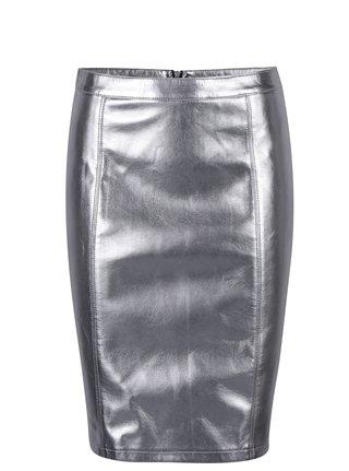 Koženková puzdrová sukňa v striebornej farbe ONLY Ann