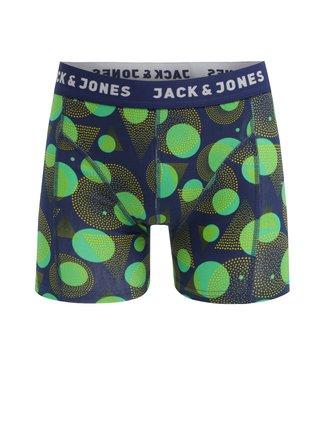 Zeleno-modré puntíkované boxerky Jack & Jones Path