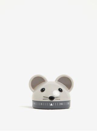 Šedá minutka do kuchyně ve tvaru myši Kikkerland
