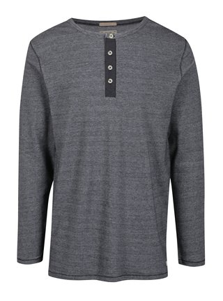 Sivé melírované tričko s gombíkmi Jack & Jones Giovanni