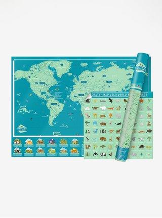 Veľká modro-zelená nástenná stieracia mapa Luckies Wild World