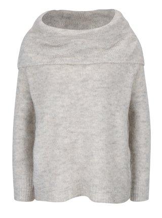 Svetlosivý voľný sveter s prímesou vlny ONLY Bergen