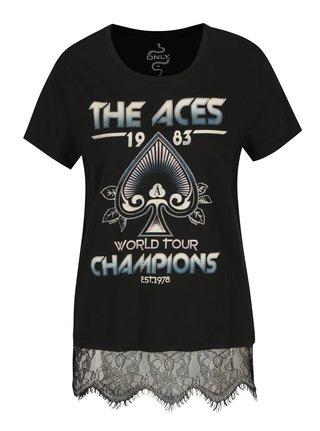 Čierne tričko s potlačou Aces a čipkou ONLY Prince