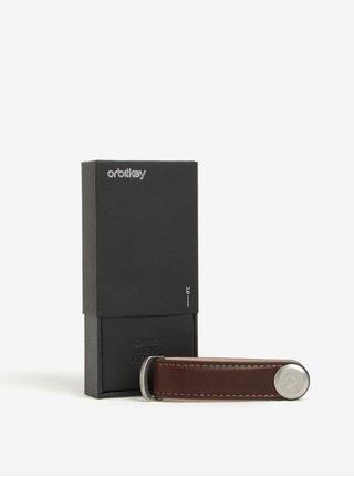 Tmavě hnědá kožená klíčenka Orbitkey
