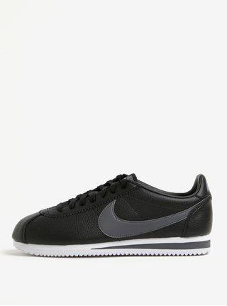 Černé pánské kožené tenisky Nike Classic Cortez