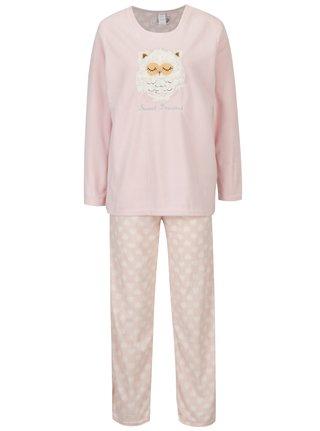 Pijama roz&crem cu model pufos M&Co