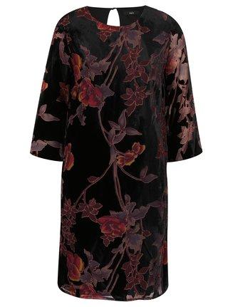Vínovo-černé květované sametové šaty M&Co