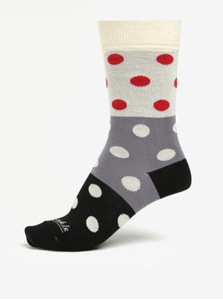 Krémovo-čierne bodkované unisex ponožky Fusakle Guličkár nerozhodný