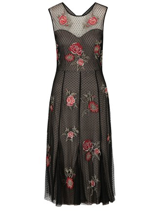 Čierne čipkové šaty s výšivkami ruží M&Co