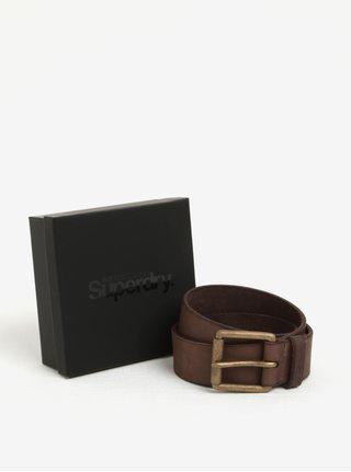 Tmavě hnědý pánský kožený pásek Superdry Western