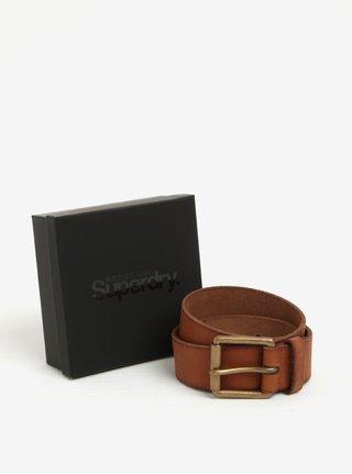 Hnědý pánský kožený pásek Superdry Western