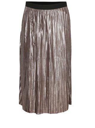 Světle hnědá plisovaná lesklá sukně s jemným vzorem Mela London