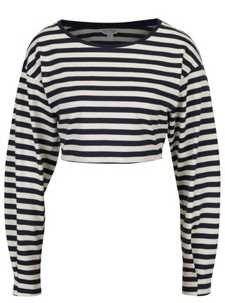 Bluza crop top bleumarin&crem in dungi Miss Selfridge