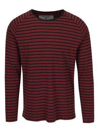 Vínové pruhované pánske tričko s dlhým rukávom Garcia Jeans