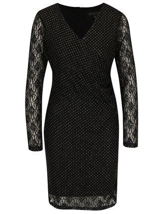 bf2de9266367 Čierne čipkované šaty s prekladaným výstrihom Mela London