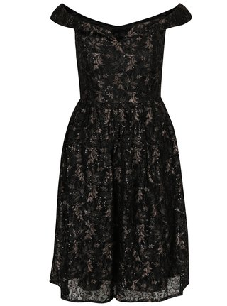 Čierne čipkované šaty s odhalenými ramenami Mela London