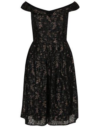 Černé krajkové šaty s odhalenými rameny Mela London