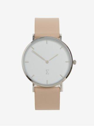 Dámske hodinky v striebornej farbe s koženým remienkom Esoria Alys