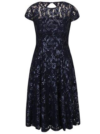 Tmavomodré čipkové šaty s flitrami Dorothy Perkins